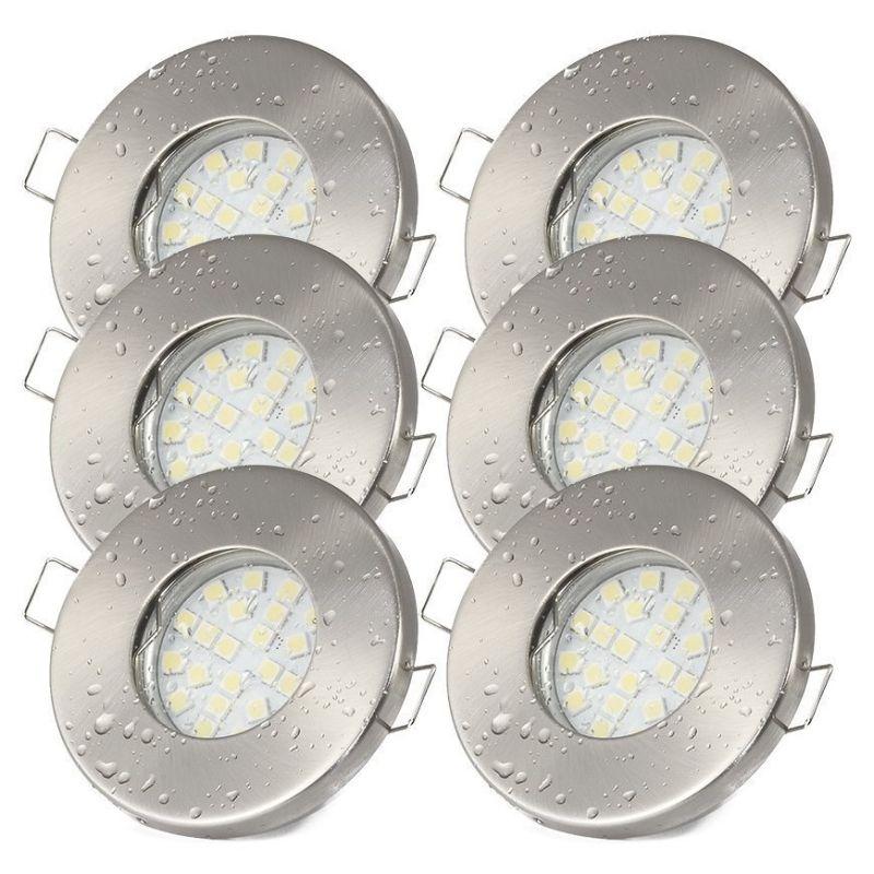 Details zu 6er Set Badezimmer Lampen Deckeneinbauleuchte LED 5W 230V  Einbaustrahler IP65