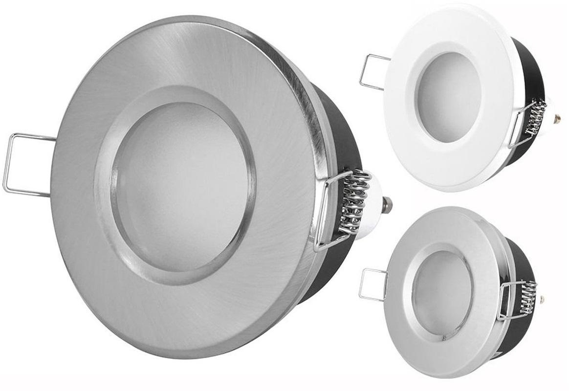Einbaustrahler rund IP20 nicht rostend passend für LEDs 12V - 230V ...