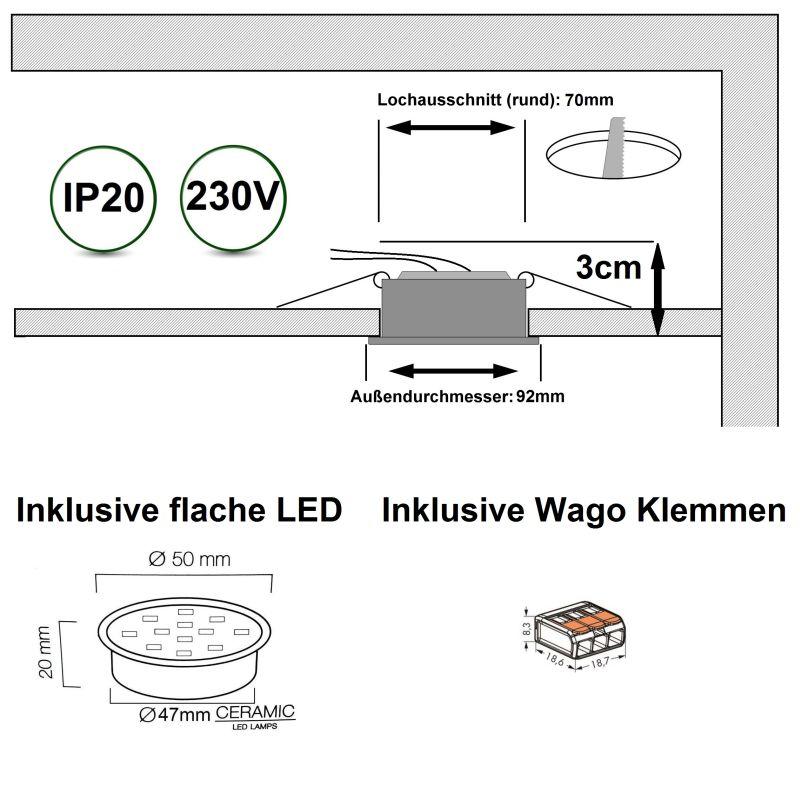 Extrem Smart Home flache LED Einbaustrahler 5W 230V passend zu Alexa SC04